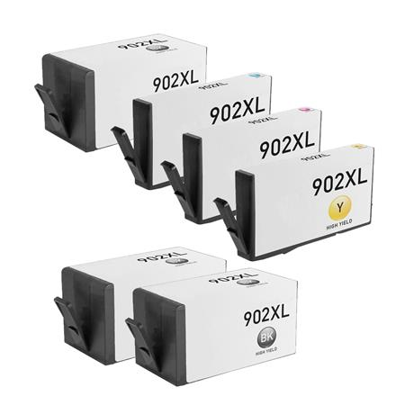 902XL BK/C/M/Y 1 Full set + 2 EXTRA Black Remanufactured High Capacity Inks