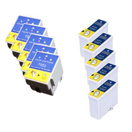 Compatible Multipack Epson T050/T052 5 Full Sets Ink Cartridges (Replaces S020093/S020089)