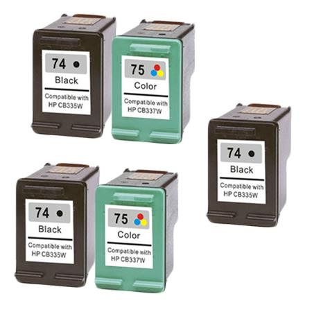Compatible Multipack HP 74/75 2 Full Sets + 1 EXTRA Black Ink Cartridges