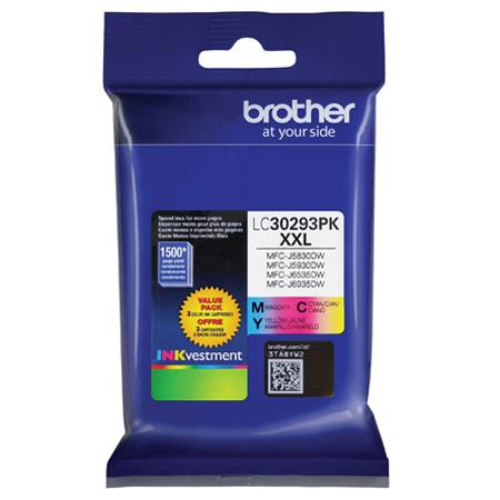 BrotherLC30293PK Color Original Extra High Capacity Ink Cartridge Multipack - 3 Pack