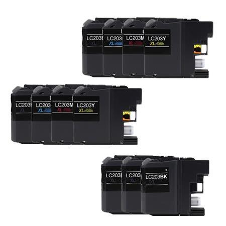 LC203BK/C/M/Y 2 Full SetS + 3 EXTRA Black Compatible Inks