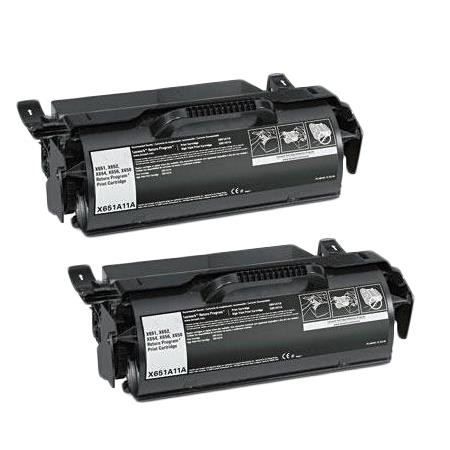 X651A11A Black Remanufactured Toners Twin Pack