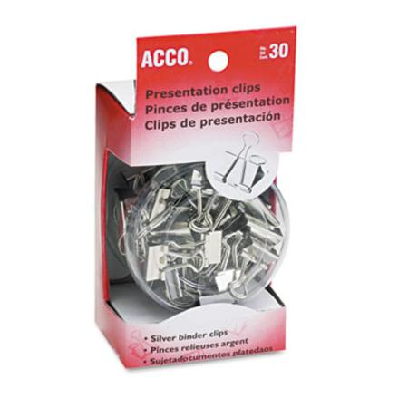 ACCO Presentation Clips  Steel/Nickel  Assorted Size Clips  Silver  30/Box