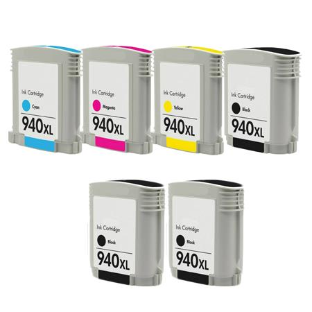 Clickinks 940XLBK/C/M/Y Full Sets + 2 EXTRA Black Remanufactured Inks