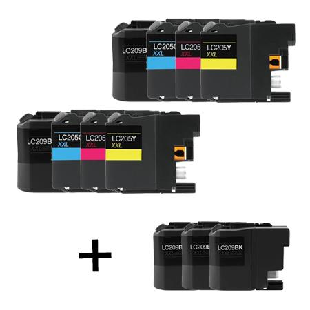 LC209BK/LC205C/M/Y 2 Full Sets + 3 EXTRA Black Compatible Inks
