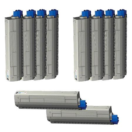 44844509/10/11/12 2 Full Sets + 2 EXTRA Black Remanufactured Toner Cartridges