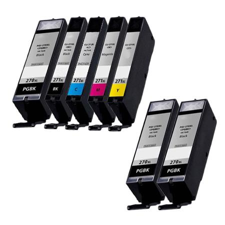 Clickinks PGI-270XL/CLI-271XL PGBK/ BK/C/M/Y Full Set + 2 EXTRA Black Compatible Inks