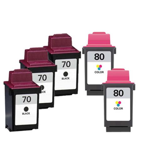 Compatible Multipack Lexmark No.70/No.80 2 Full Sets + 1 EXTRA Black Inkjet Cartridges