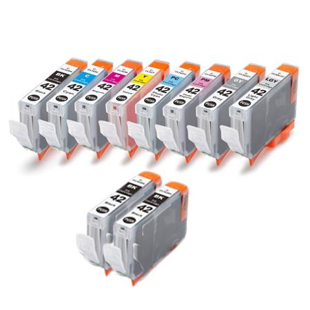 CLI-42 Full Set + 2 EXTRA Black Remanufactured Inks