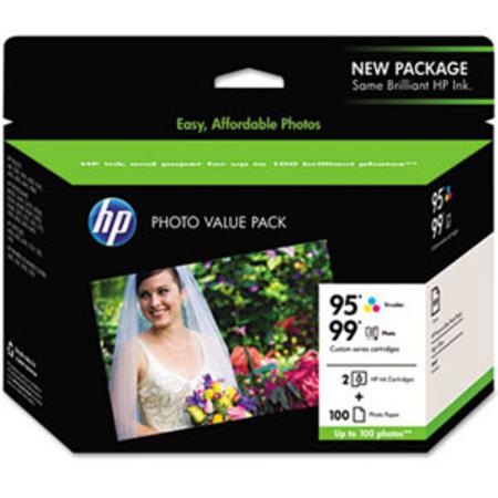 HP 95-99 Black and Tri-Color Original Ink Cartridge Paper Photo Value Pack w-100 Glossy 4 x 6 Sheets