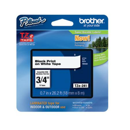 Brother TZe-241 Original P-Touch Label Tape - 3/4 in x 26 ft (19mm x 8m) Black on White