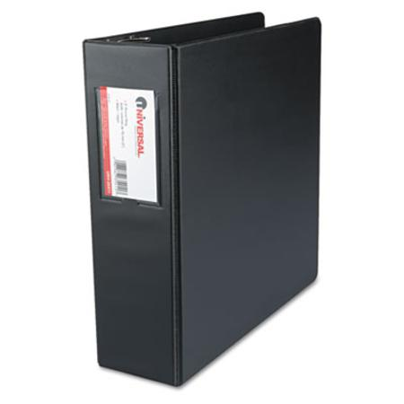 Universal Suede Finish Vinyl Round Ring Binder With Label Holder  3Inch Capacity  Black