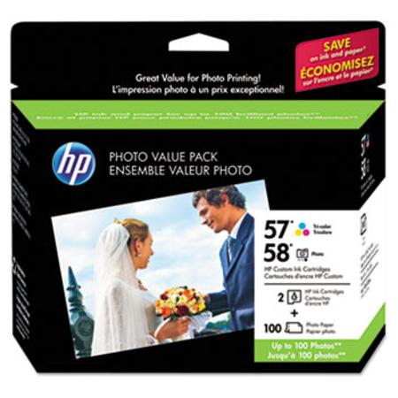 HP 57/58 (CR685AN) Series Ink Cartridge Photo Value Pack w/100 Glossy 4 x 6 Sheets