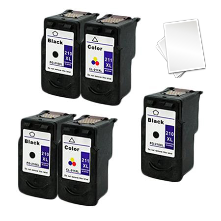 PG-210XL/CL-211XL 2 Full Sets + 1 EXTRA Black Remanufactured Ink