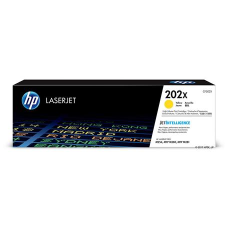 HP 202X Yellow Original High Capacity Toner Cartridge (CF502X)