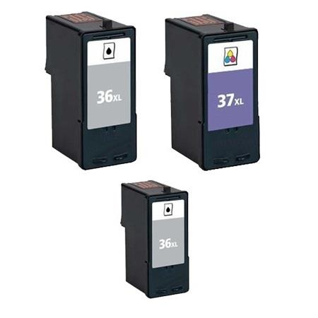 No.36XL/No.37XL Full Set + 1 EXTRA Black Remanufactured Ink