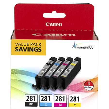 Canon CLI-281 Multipack Original Standard Capacity Ink Cartridge (Black/Cyan/Magenta/Yellow) - 4 Pack