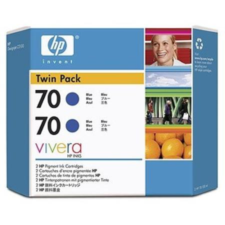 HP 70 (CB349A) Original Blue Ink Cartridge (Twin Pack)