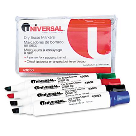 Universal Dry Erase Markers  Chisel Tip  Assorted  4/Set