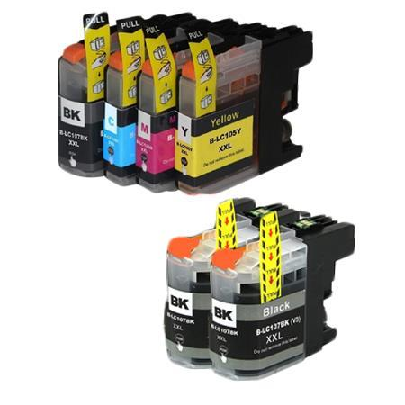Compatible Multipack Brother LC107BK/LC105C/M/Y Full Set +  2 EXTRA Black Ink Cartridges