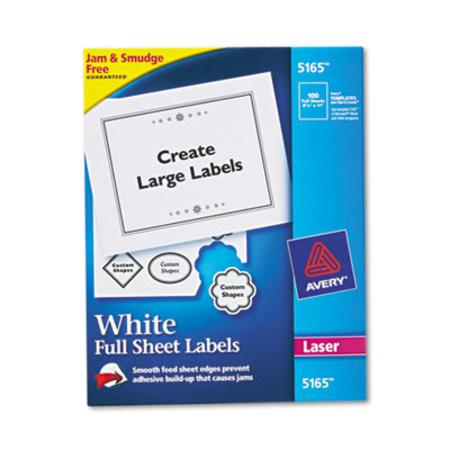 Avery Shipping Labels with TrueBlock Technology  8-1/2 x 11  White  100/Box
