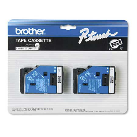 Brother TC34Z Original P-Touch Label Tape - 3/8 x 25.2 ft (9mm x 7.7m) White on Black - 2 Pack