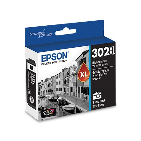 Epson 302XL (T302XL120-S) Photo Black Original High Capacity Ink Cartridge