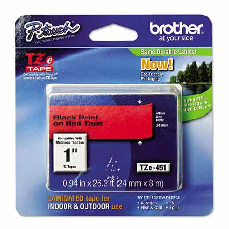 Brother TZe451 Original P-Touch Label Tape - 1 x 26.2 ft (24mm x 8m) Black on Red