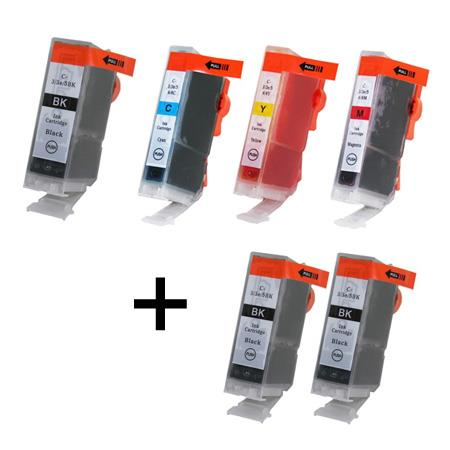 Compatible Multipack Canon BCI-3e/BCI-6 BK/C/M/Y Full Set + 2 EXTRA Black Inkjet Cartridges