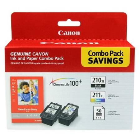 Canon Combo with PG-210XL Black Cartridge  CL-211XL Color Cartridge and 50 Sheets 4 x 6 Photo Paper
