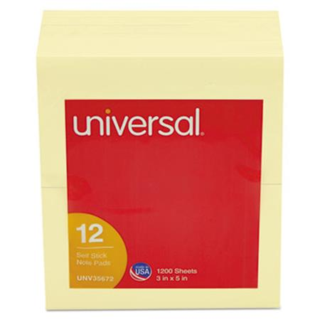 Universal Standard Self-Stick Notes  3 x 5  Yellow  12 100-Sheet Pads/Pack