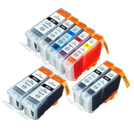 BCI-3eK/BCI-6BK/C/M/Y 1 Full Set + 4 EXTRA Black Compatible Inks