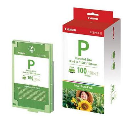 Canon Original E-P100 Easy Photo Pack - Ink and 100 Postcard Size Sheets