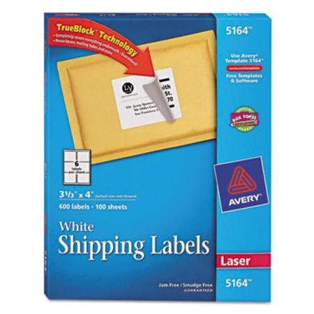 Avery Shipping Labels with TrueBlock Technology  3-1/3 x 4  White  600/Box