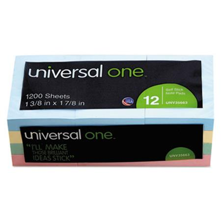 Universal Self-Stick Notes  1-1/2 x 2  4 Pastel Colors  12 100-Sheet Pads/Pack