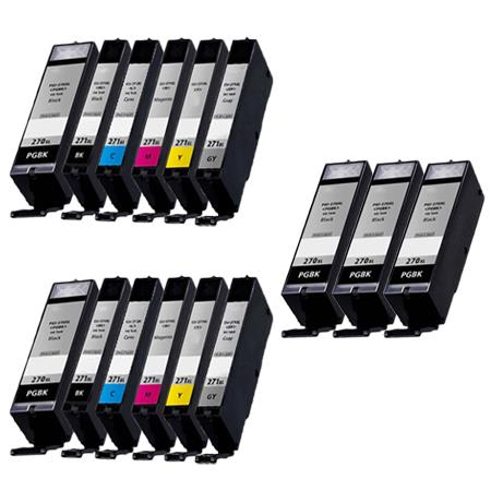 PGI-270XL/CLI-271XL PGBK/ BK/C/M/Y/GY 2 Full Sets + 3 EXTRA Black Compatible Inks