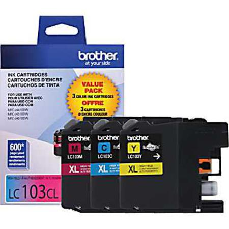 Brother LC103 Cyan/Magenta/Yellow Original High Capacity Ink Cartridges - Triple Pack