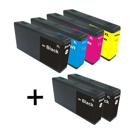 Clickinks 676XL Full Set + 2  EXTRA Black Remanufactured Inks