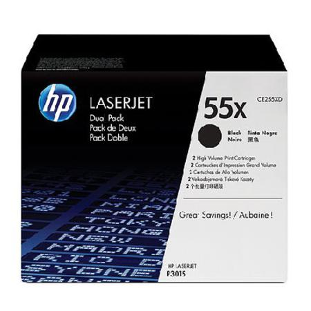 HP 55X (CE255X) Original Black High Capacity Toner Cartridge (Twin Pack - CE255XD)