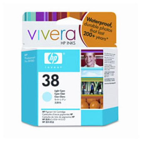 HP 38 Light Cyan Pigment Original Inkjet Print Cartridge with Vivera Ink (C9418A)