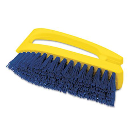 Rubbermaid Commercial Long Handle Scrub Brush  6 inch Brush  Yellow Plastic Handle/Blue Bristles