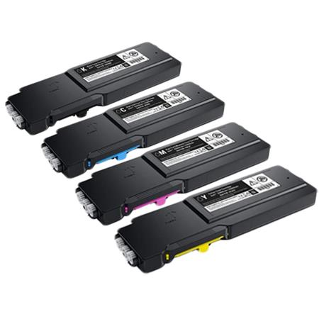Clickinks 593-BCBC/BCBF/BCBE/BCBD Full Set Remanufactured High Capacity Toners