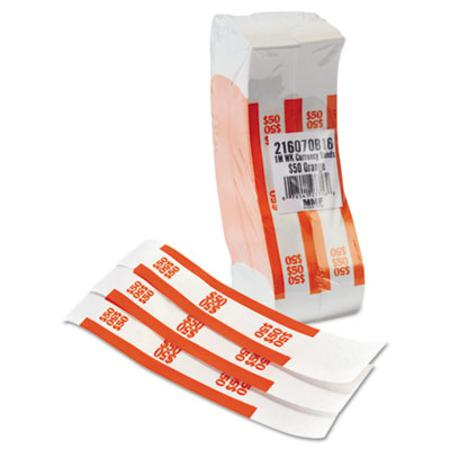 MMF Industries Self-Adhesive Currency Straps Orange $50 in Dollar Bills 1000 Bands per Box
