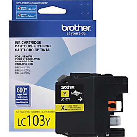 Brother LC103Y Yellow Original High Capacity Ink Cartridge