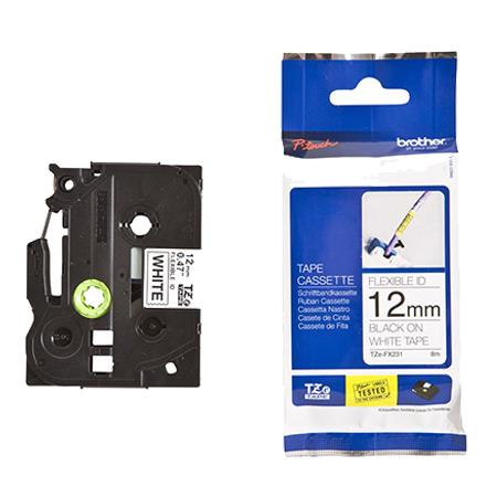 Brother TZeFX231 Original P-Touch Label Tape - 1/2 x 26.2 ft (12mm x 8 m) Black on White