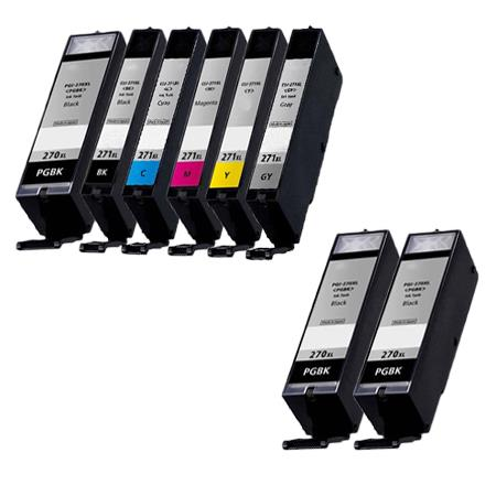 PGI-270XL/CLI-271XL PGBK/ BK/C/M/Y/GY Full Set + 2 EXTRA Black Compatible Inks