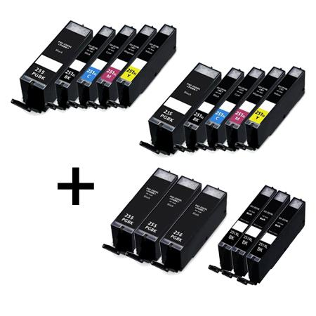 Clickinks PGI-255XXLBK/CLI-251XLBK/C/M/Y 2 Full Set + 6 EXTRA Black Compatible Inks
