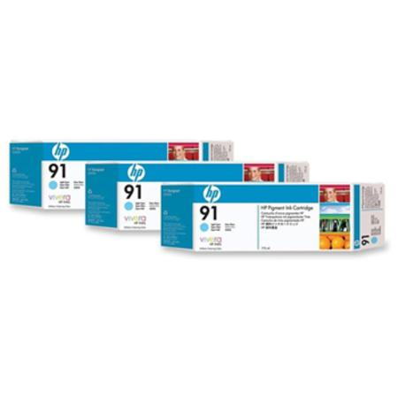 HP 91 (C9486A) Original Light Cyan Ink Cartridge (3 Pack)