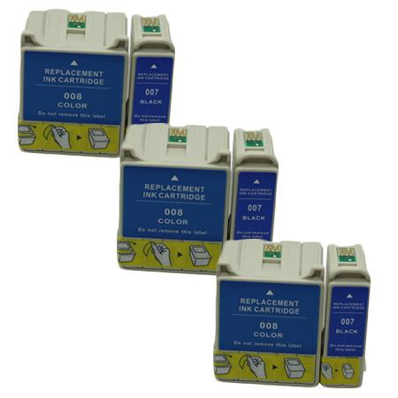 Compatible Multipack Epson T007/T008 3 Full Sets Ink Cartridges