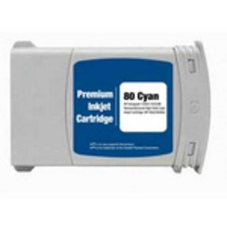 HP 80 Cyan Dye Remanufactured High Capacity Ink Cartridge (C4846A) (350ml)